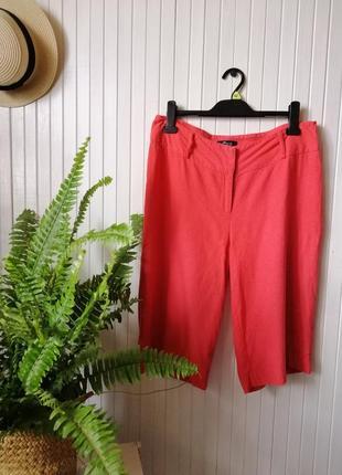Летние удлиненные шорты лен льон длинные шорты натуральная ткань
