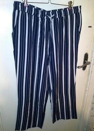 Бомбезные,льняные-коттон,брюки с карманами,на резинке,высокая посадка,большой размер