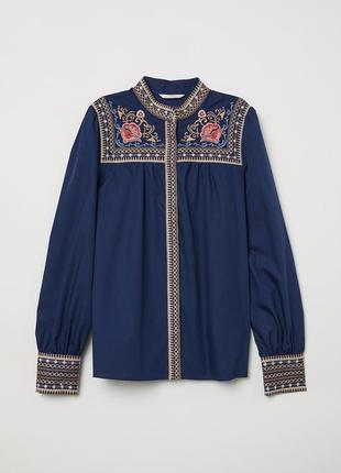 Хлопковая вышитая блуза/рубашка