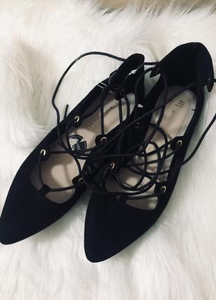 Балетки, туфли чёрные с завязками🌹💣