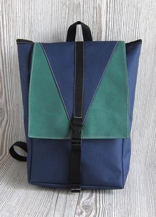 Небольшой сине-зеленый рюкзак ручной работы