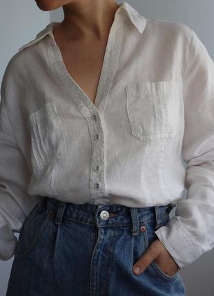 Белая льняная льная 100% лён рубашка блуза блузка laura ashley