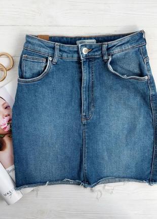 Синяя джинсовая юбка мини с необработанным краем zara