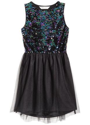 Нарядное трикотажное платье без рукавов расшито пайеткамиот h&m
