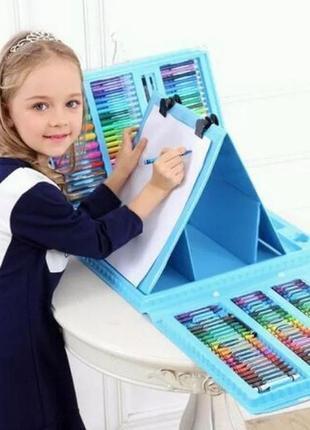 Набор для рисования в удобном кейсе с мольбертом в 208 предметов2 фото