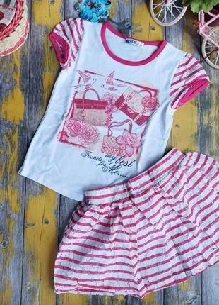 Набор футболка и юбка для девочки azur jewel, (116см)