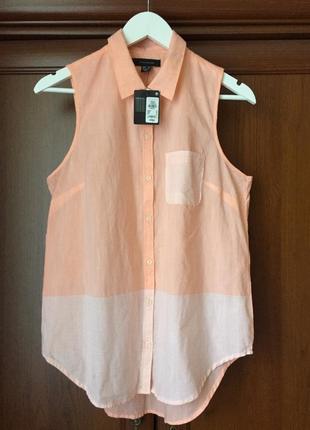 100% катонова блуза ,персікового цвета, з комбінацією в полоску, розмір м-л, фірми primark