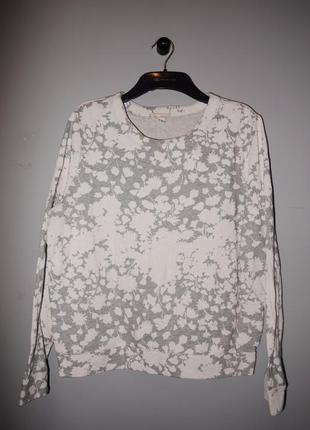 Gap хлопковый свитшот ( серый + кремовый ) с цветочным узором