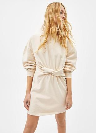 Платье -свитшот с узлом bershka