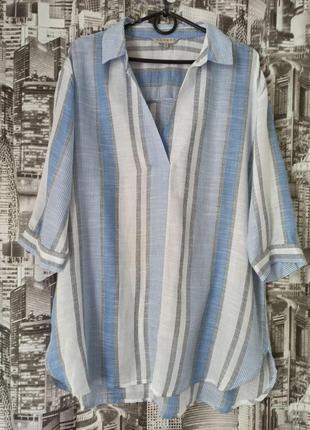 Летняя женская рубашка удлиненная блуза размер 48-50