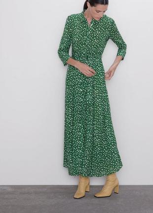 Актуальное длинное платье -рубашка  миди zara