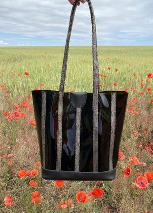 Набор 2в1 силиконовая полупрозрачная сумка шоппер черная с золотой косметичкой