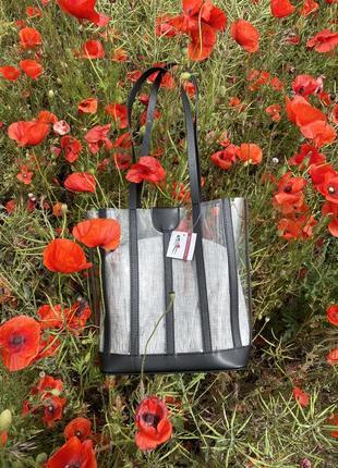 Набор 2в1 силиконовая прозрачная сумка шоппер черная с серой косметичкой