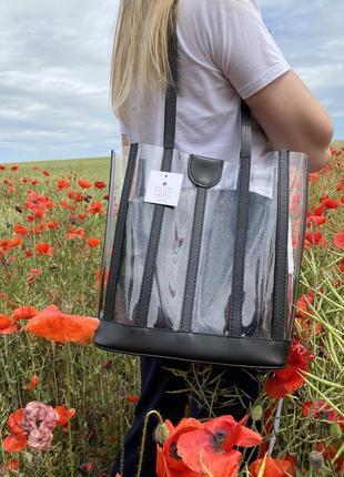 Набор 2в1 силиконовая прозрачная сумка шоппер с черной блестящей косметичкой