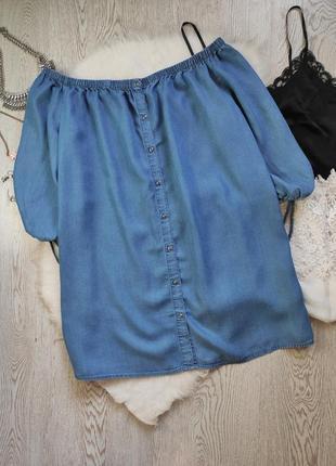 Синее голубое джинсовое платье трапеция с рукавами открытыми плечами на резинке