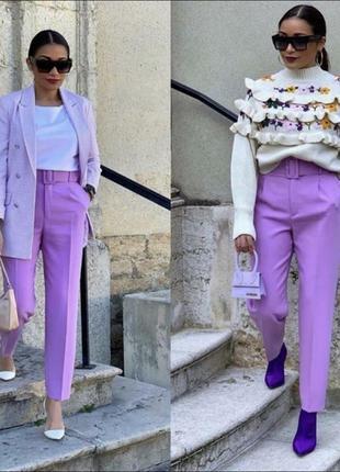 Красивенные лавандовые брюки zara m