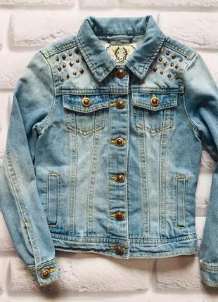 Young dimension стильная джинсовая куртка на девочку 7-8 лет