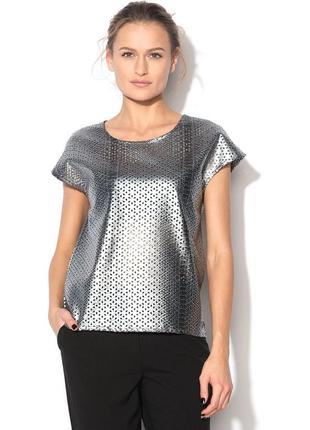 Шикарный, стильный, серебряный топ, майка, блуза,  в змеинном принте, кожаный
