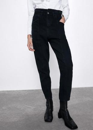 Чёрные джинсы zara мом