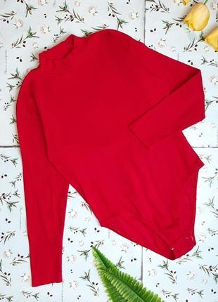 🎁1+1=3 красное боди бодік в рубчик с длинным рукавом под горло essentials, размер 52 - 54