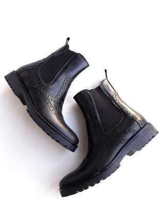 Итальянские кожаные ботинки челси на толстой подошве 100% кожа от  rizzoli