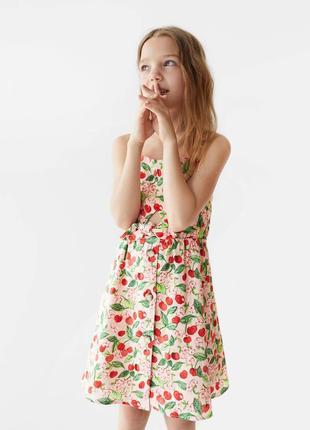 Платье с вишнями на пуговицах