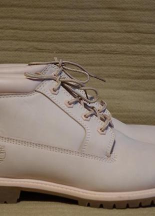 Нежно розовые фирменные ботинки из натурального нубука timberland 9 р. ( 27,5 см.)