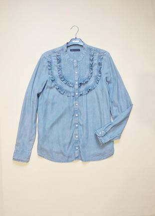 Актуальная голубая джинсовая рубашка m&s l-xl