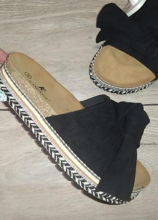 Шлепанцы платформа 🌿 пробка шлепки плетенка мешковина