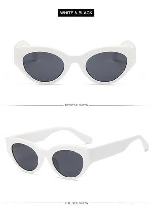 Очки окуляри темные черные белая оправа солнце солнцезащитные  трендовые новые uv4009 фото