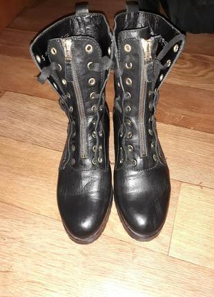 Брендовые кожаные высокие ботинки lavorazione artigiana! размер 38