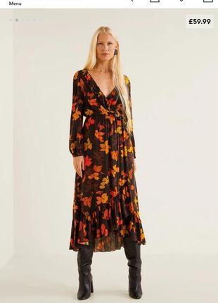 Платье в цветочный принт  с оборками вырезом на спине