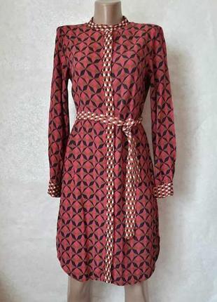 Фирменное zara платье-рубашка/туника в ромбик со 100 %вискозы с пояском, размер с-ка