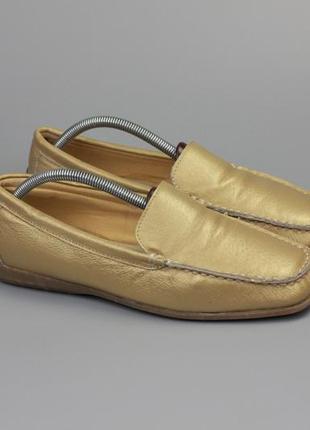 Золотистые мокасины туфли лоферы actual basics в стиле tod's massimo dutti