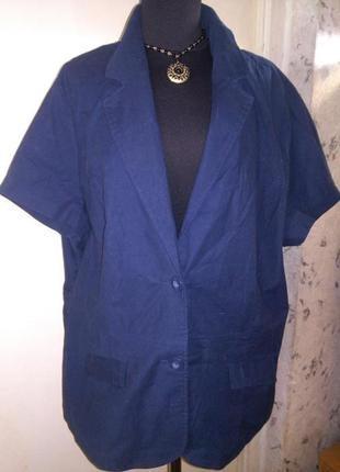 Натуральный,стрейч,тёмно-синий жакет-короткий рукав,с карманами,большого размера