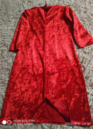Шикарное красное платье плотная ткань- s m