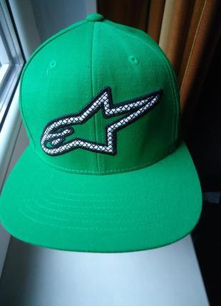 Мотокепка бейсболка alpinestars зеленая one size