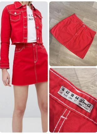 Бомбезная красная джинсовая юбка denim co