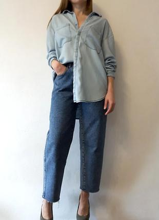 Базовая рубашка оверсайз под джинс h&m
