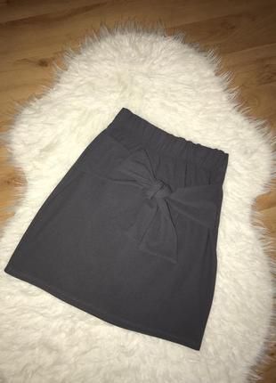 🌿серая юбка на резинке с завязками юбка мини с бантом