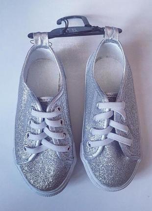 Кеды блестящие серебряные на девочку h&m