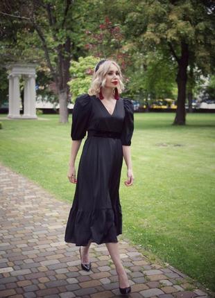 Чёрное платье шёлк