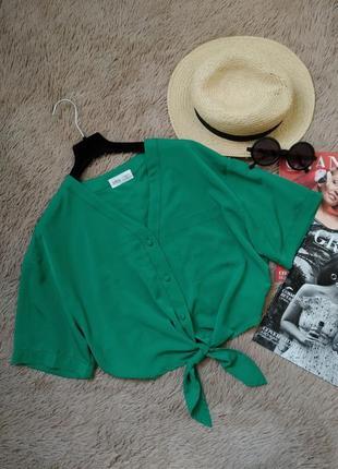 Красивая укороченная рубашка на завязке/блузка/блуза/кофточка/топ