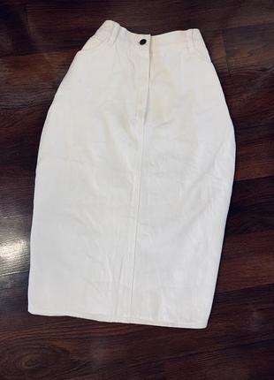 Белая джинсовая юбка миди карандаш