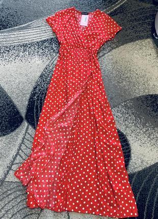 Платье на запах впол,макси,длинное красное в горох