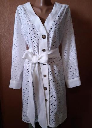 Длинная блузка туника ажурная вышивка ришелье прошва размер 14-16 от zara