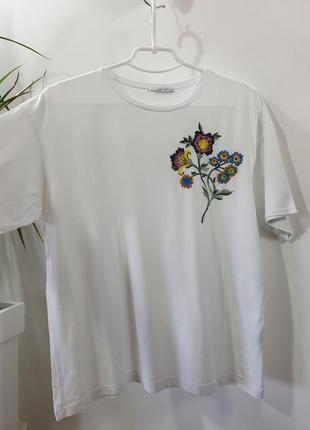 Хлопковая футболка с вышивкой zara