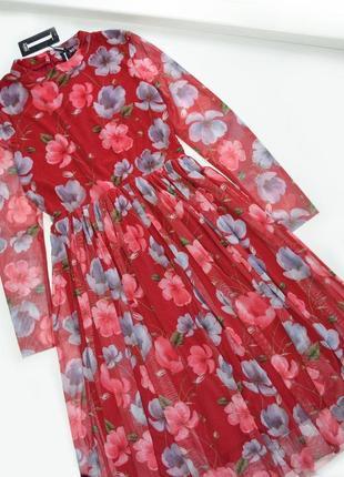 Роскошное сетчатое платье миди в цветы
