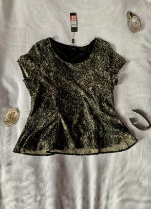 Стильная блуза большой размер золотимая с чёрным
