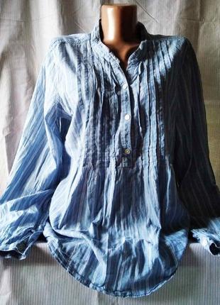 Сорочка тонкий джинс смугаста оверсайз  полоска